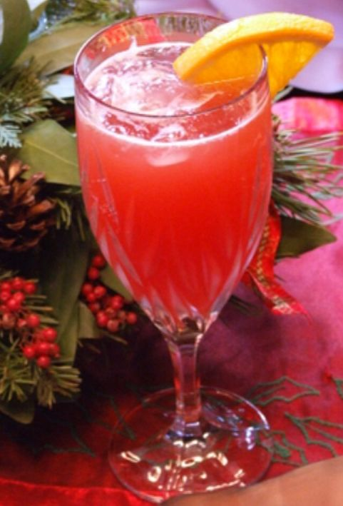 Cranberry Mimosas for holiday brunch. #recipe
