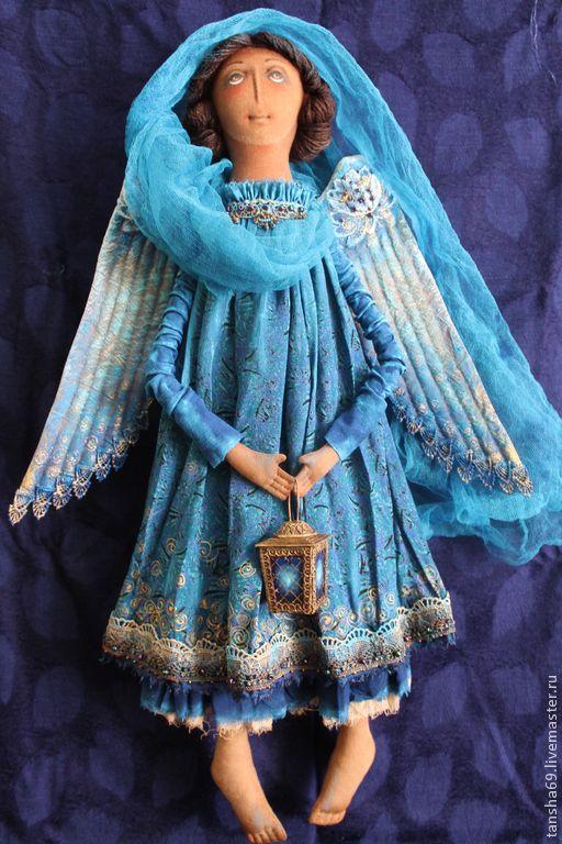 Дежурный Ангел мне явился ночью... - синий,ангел,текстильная кукла,ароматизированная кукла