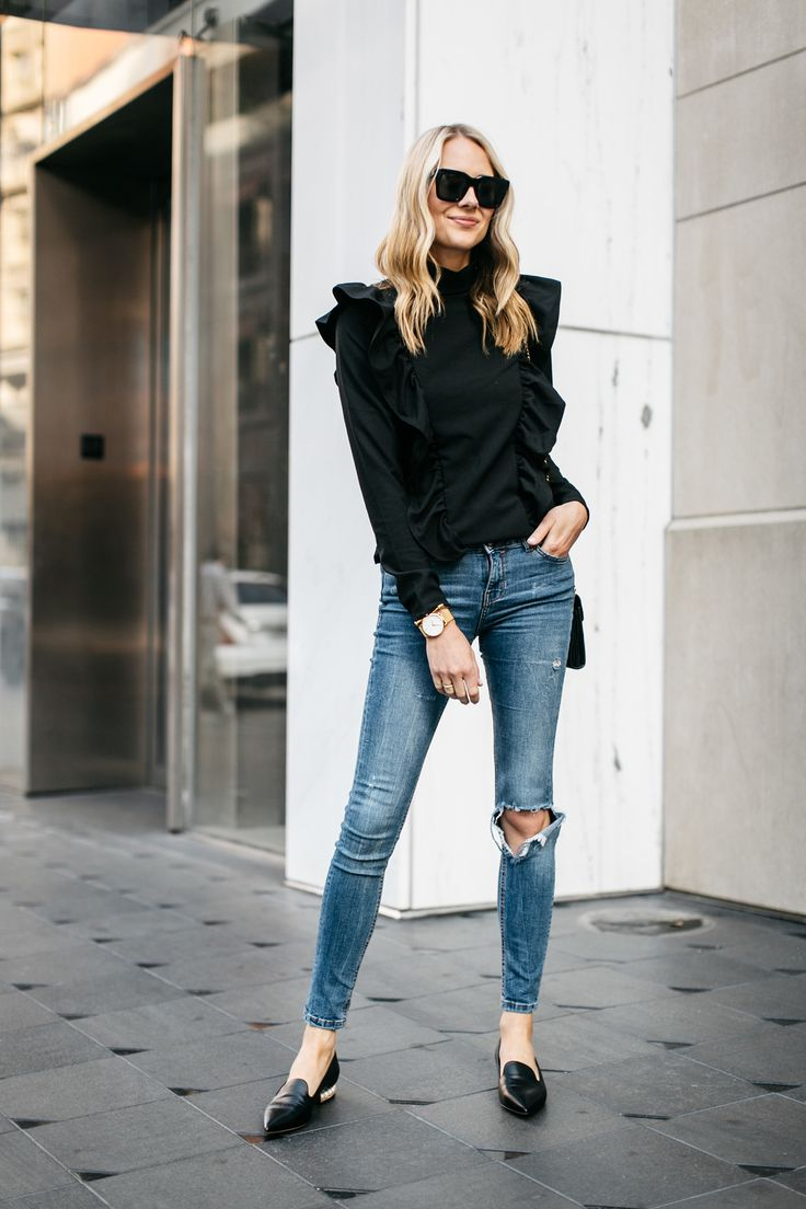 Fashion Jackson, Street Style, Black Long Sleeve Ruffle Top, Denim Ripped Skinny Jeans, Nicholas Kirkwood Pearl Heeled Loafers