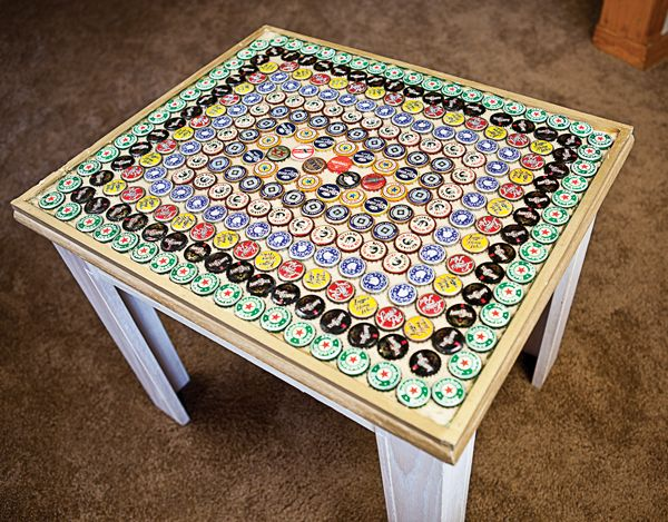 Beer Bottle Cap Tabletop Upcycle
