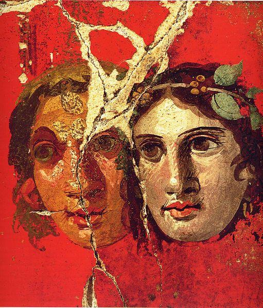 Two female theatre masks. Roman fresco from the House of the Golden Bracelet (VI 17, 42) in Pompeii.