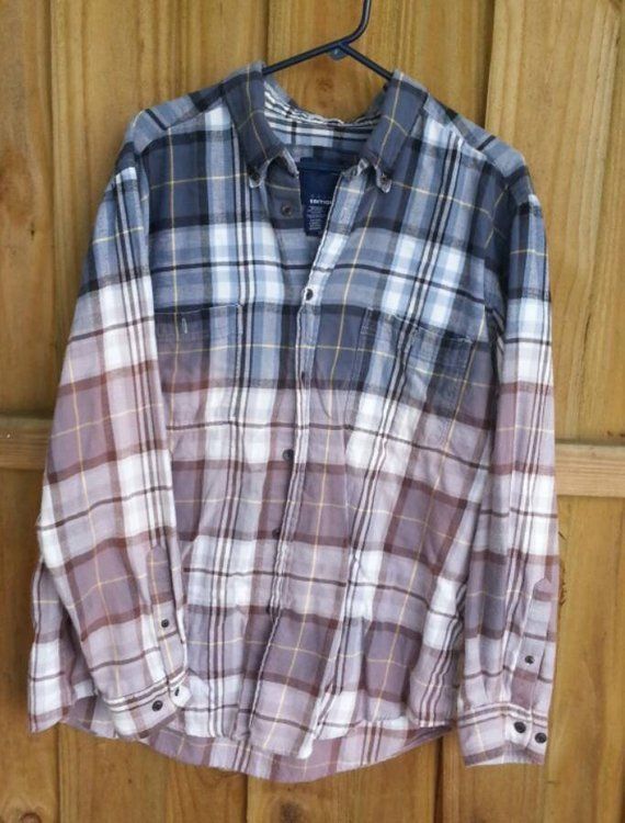 1b91b8da134d Bleached Distressed Flannel Shirt -blue white gray - Men's XL extra large - plaid