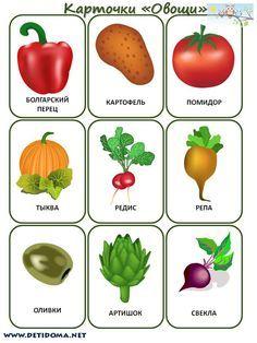Дидактические карточки для детей «Овощи»