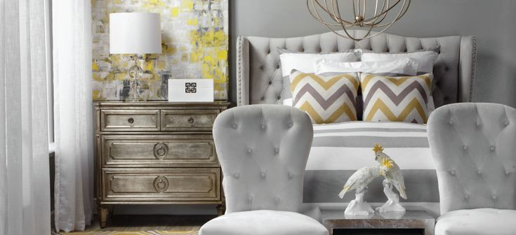Grey, white and ochre for a graceful, stylish bedroom ...