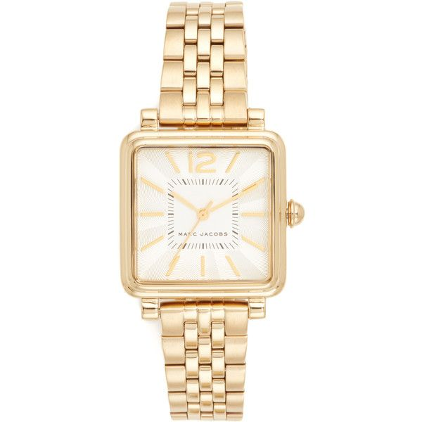 Marc Jacobs Vic Watch (€215) ❤ liked on Polyvore featuring jewelry, watches, yellow gold, gold wrist watch, water resistant watches, square dial watches, marc jacobs jewelry and gold watches