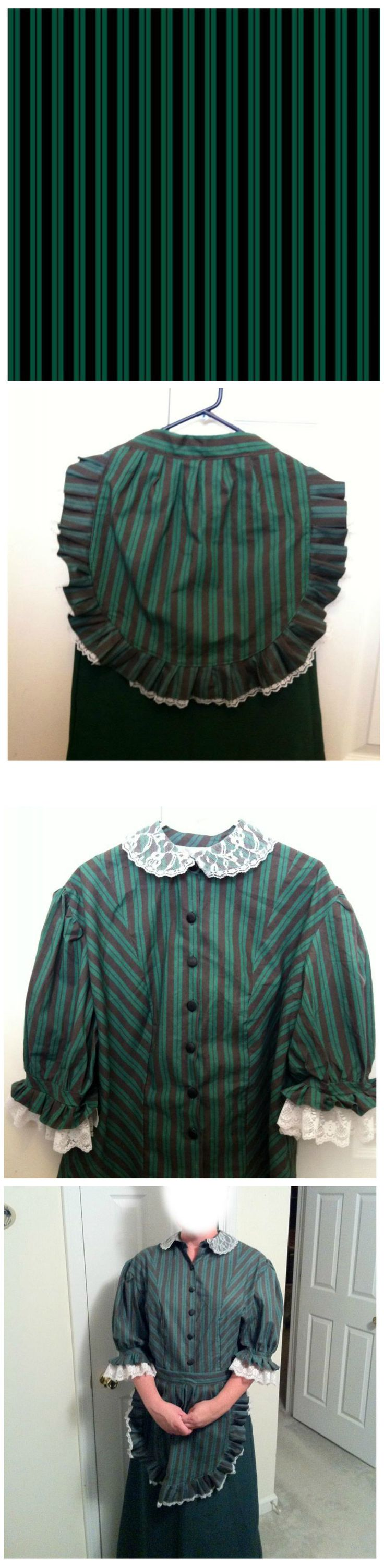 Want to dress like a Haunted Mansion maid...er...cast member?  Here is the green stripe fabric for sale on Spoonflower.com
