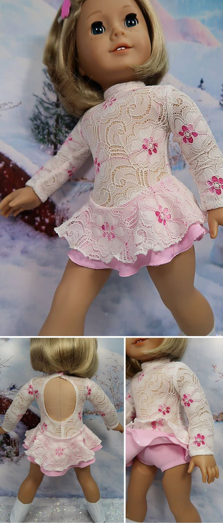 """Shirley F of DollClothesbyShirley made this beautiful lace figure skating dress for her American Girl doll using Lee & Pearl Pattern 1055: Skating Dresses for 18"""" Dolls. Find this delightful, just-like-the-real-thing pattern in our Etsy store at https://www.etsy.com/listing/179931138/lp-pattern-1055-skating-dresses-for-18"""