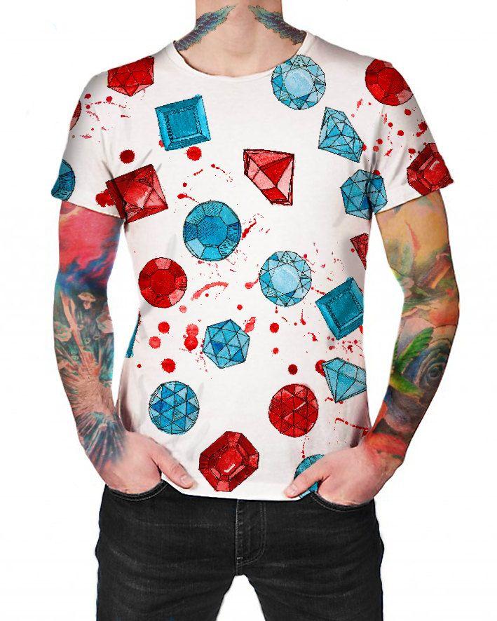 Gemstones White - T-shirt - Full print Shirt by ArtefactoStore on Etsy
