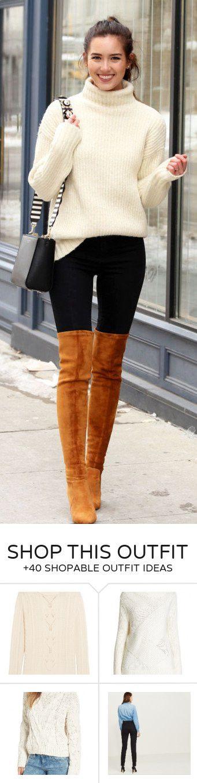 #winter #fashion /  White Knit / Black Skinny Jeans / Brown Velvet OTK Boots
