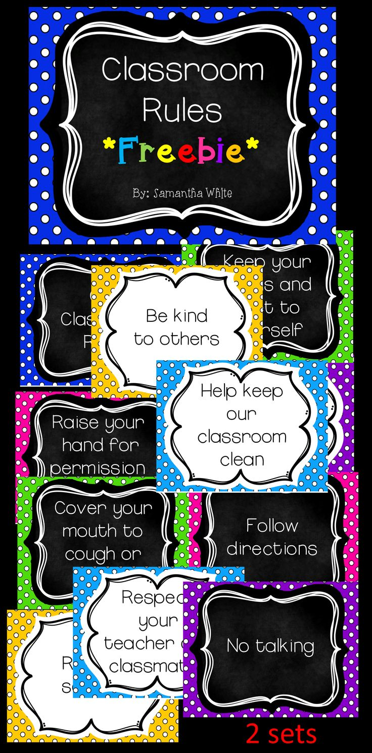 *FREEBIE* Classroom rules in cute polka dots!  Included are 2 sets of 10…