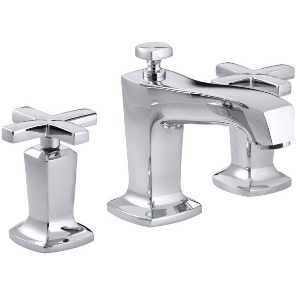 Redefine traditional styling with this Margaux bathroom sink faucet, which features a strong modern design that commands attention. This bath sink faucet comes with bold, ergonomic cross handles and Margaux's subtle pillow-top detailing. Outfitted with easy-to-install and leak-free UltraGlide™ valves, this faucet is designed for precision and reliability as well as style.