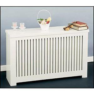 Clean lines and a white finish give this radiator a fresh look, plus the shelf top provides extra storage.