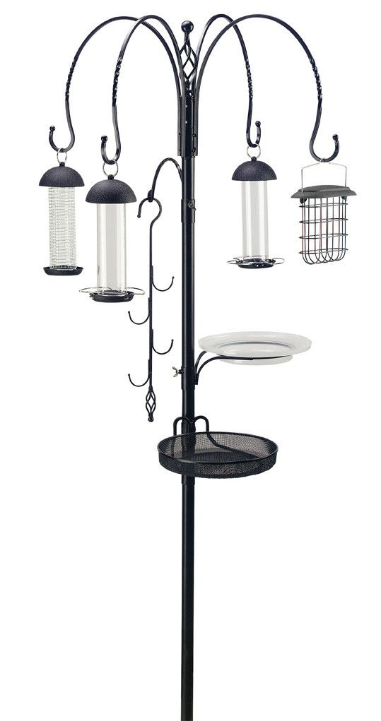 Features:  -Superior feeding station.  Orientation: -Freestanding.  Easy Refill Top: -Yes.  Color: -Black.  Feeder Type: -Decorative.  -The stakes are pointed to put into the ground.  -Feeding dish: Y