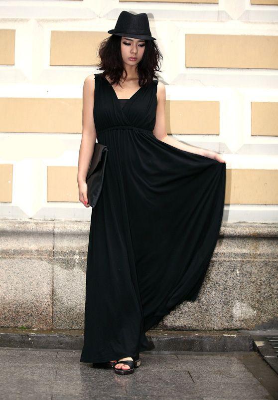 Shoulder Stiching Slim Long Dress Black