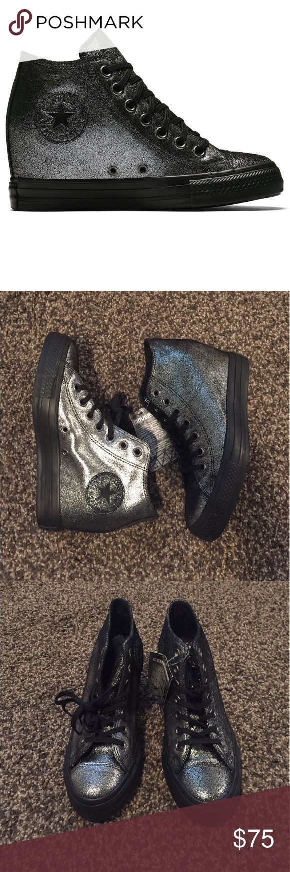 Converse lux wedge sneakers in black and silver Brand New without the box.                                       Hidden wedge sneaker Canvas upper  Lace-up vamp Converse logo at ankle Hidden wedge heel. Converse Shoes Sneakers