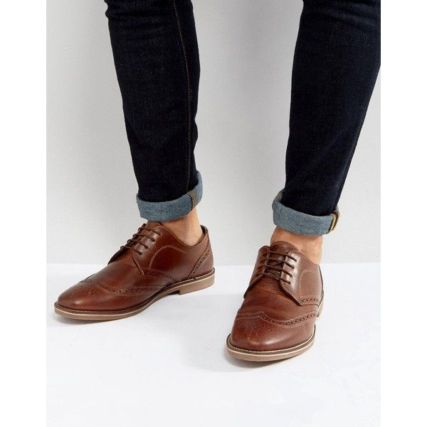 Red Tape Brogues Tan Leather ($47) ❤ liked on Polyvore featuring men's fashion, men's shoes, men's oxfords, tan, mens tan brogue shoes, red tape mens shoes, mens tan shoes, mens brogue shoes and mens leather shoes