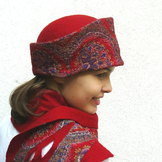 Nuno felted hat and scarf set wool and silk Red by MajorLaura, $145.00