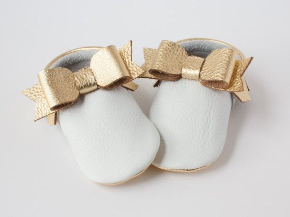 Gold & White Metallic Leather Two-Tone Bow by BabyFoxMoccs on Etsy