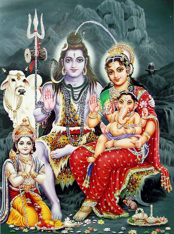 Shiva, Parvati, Ganesha and Kartik - (Poster with Glitter) (Reprint on Paper - Unframed))