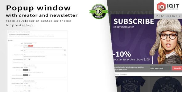 Popup window editor with newsletter . Create your own custom popup windows with optional newsletter subscription.