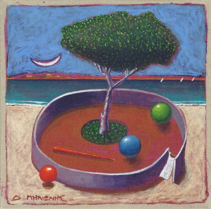"Dimitris C. Milionis - ""Tree  3 Balls"" - Original Acrylic Painting Signed Greek #Modernism"