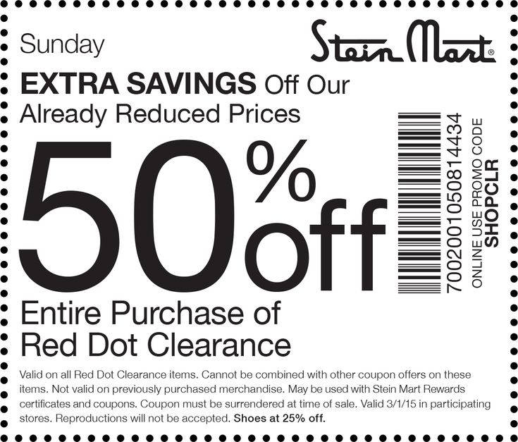 stein mart coupon stein mart promo code from the coupons app extra off red dot clearance today at stein mart or online via promo code shopclr february - Halloween Mart Coupon Code