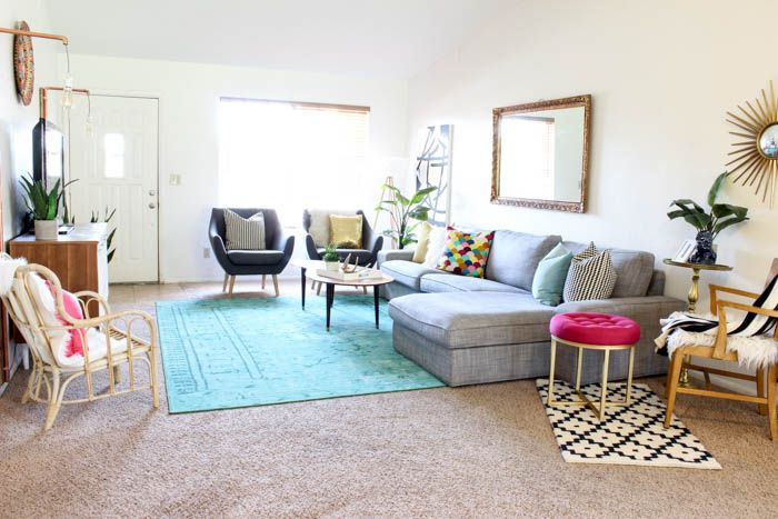 Best Colorful Mid Century Glam Living Room Makeover Glam 400 x 300