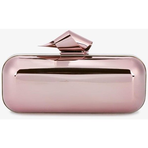 Jimmy Choo Cloud tube clutch (4.515 BRL) ❤ liked on Polyvore featuring bags, handbags, clutches, bolsas, metallic handbags, jimmy choo handbags, metallic clutches, metallic purse and pink purse