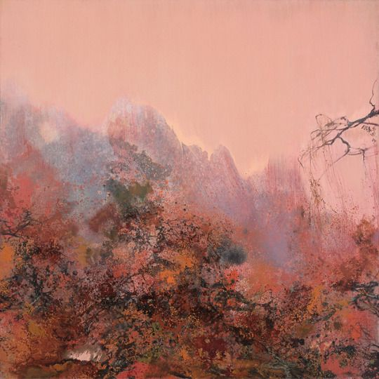 Hong Ling (Chinese, b. 1955), Silent Twilight, 2015. Oil on canvas, 180 x 180 cm.