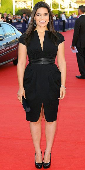AMERICA FERRERA    New York's not the only city where stars are staying stylish. America jets to Deauville, France to attend the premiere of Fair Game in a '40s-inspired Malandrino black frock with jewelry by Dana Rebecca and Joan Hornig.