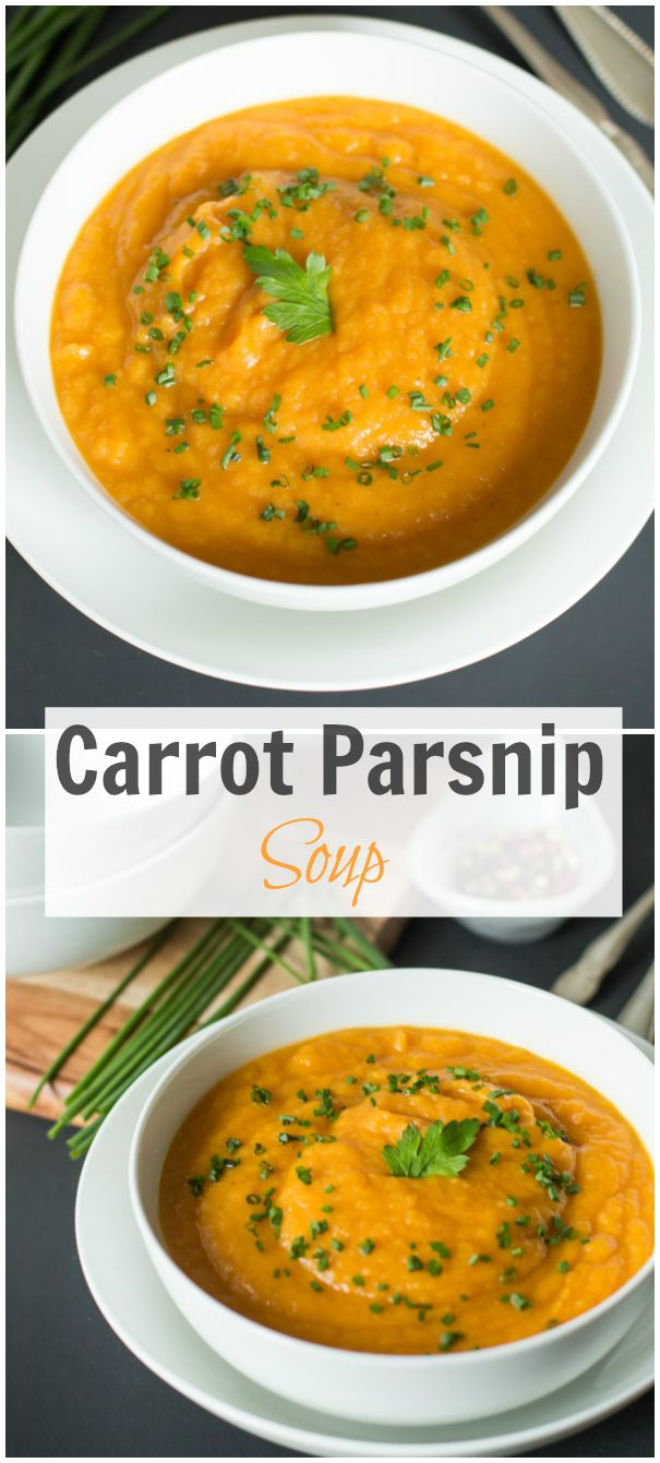 This creamy, gluten free, low carb and high in fiber Carrot Parsnip Soup is a delicious dinner or lunch option meal during this cold weather. primaverakitchen.com