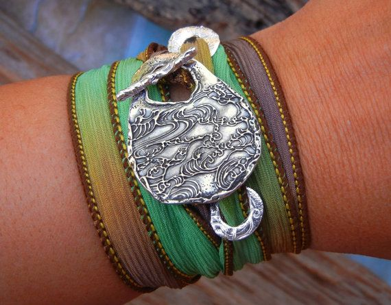 Cool Sterling Silver Jewelry, Silk Wrap Bracelet Pretty by HappyGoLicky Jewelry. CLICK & save 10% coupon code: PIN10