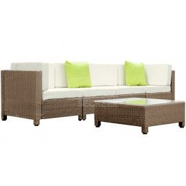 Cuban Outdoor Lounge 5 Piece - Brown