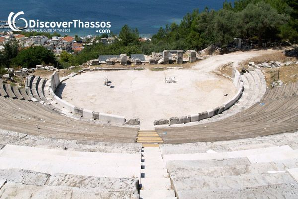 """""""The ancient theatre of Thassos is built inside a natural cavity of the hill and leaning against the wall according to Hippocrates it must have been built here as early as the 5th century B.C."""" #Thassos Island #Greece"""