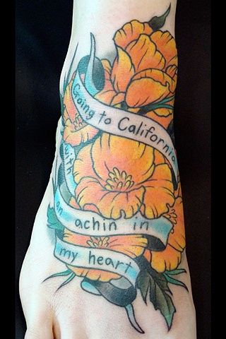 traditional california poppies poppy foot tattoo