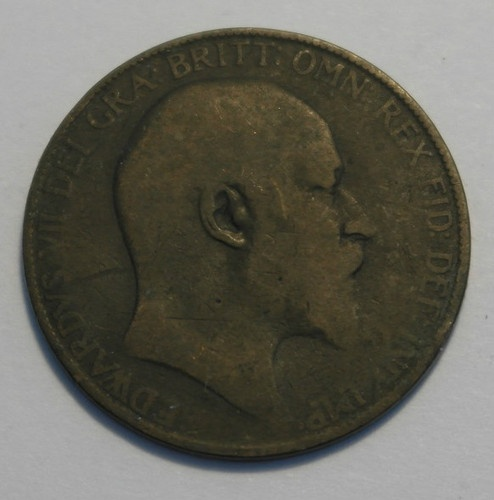 Stunning 1907 one penny British coin EDWARDS VII