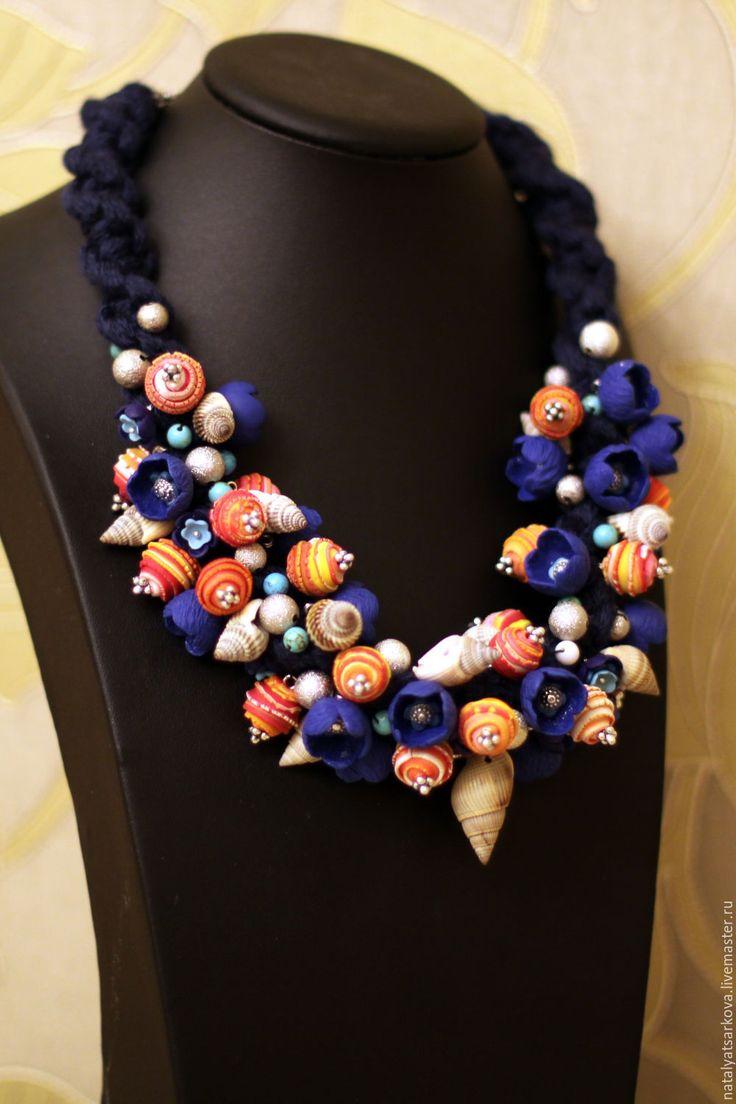 """Купить """"Морской берег"""" ожерелье из полимерной глины - украшения ручной работы, украшение на шею, ожерелье"""