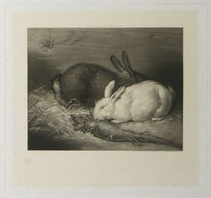[Rabbits] by attributed to Charles John Tomkins after George Morland