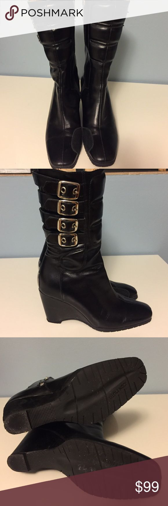 Icon Moto boots Mid-calf boots. Wedge heel, 3 inches high, very comfortable. Cool details all around the boots. Wear it with jeans or a dress. Very hip! Excellent condition! Icon Moto Shoes Combat & Moto Boots