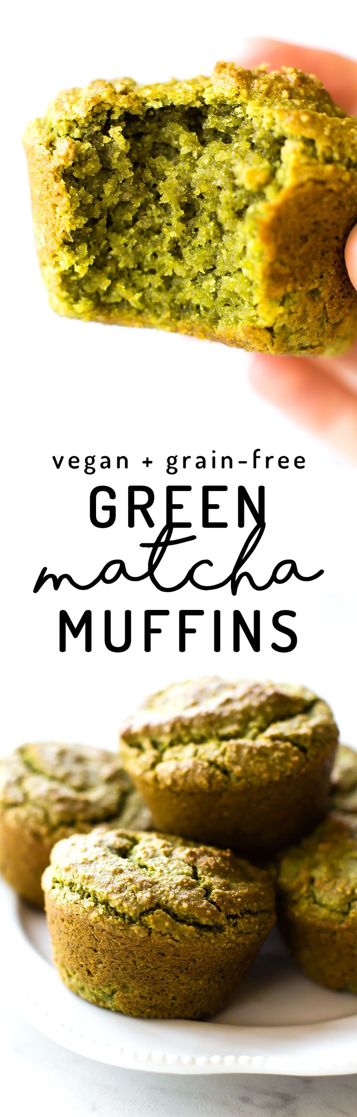 These vegan and grain-free Avocado Matcha Muffins are green tea superfood goodness packed into a soft and fluffy baked bundle for the perfect healthy snack!
