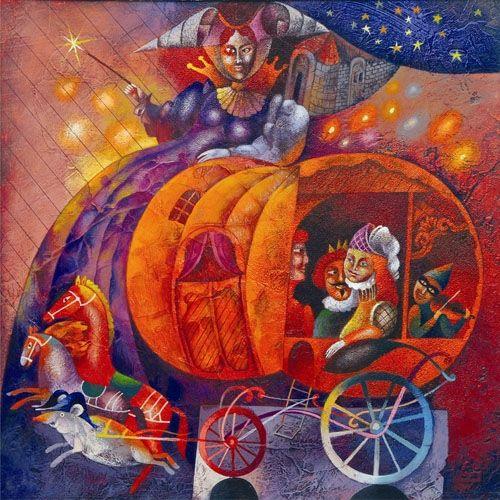 Children's Fairy Tale: Cinderella 2005 Acrylic on cardboard 32X32 (VB06) #art #painting #children www.sunflowers.co.il