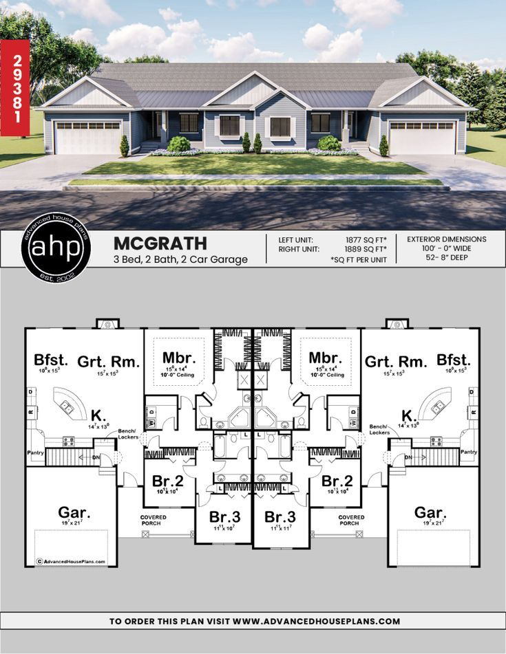 1 Story Multi Family Traditional House Plan Mcgrath Duplex Floor Plans Family House Plans Duplex House Design