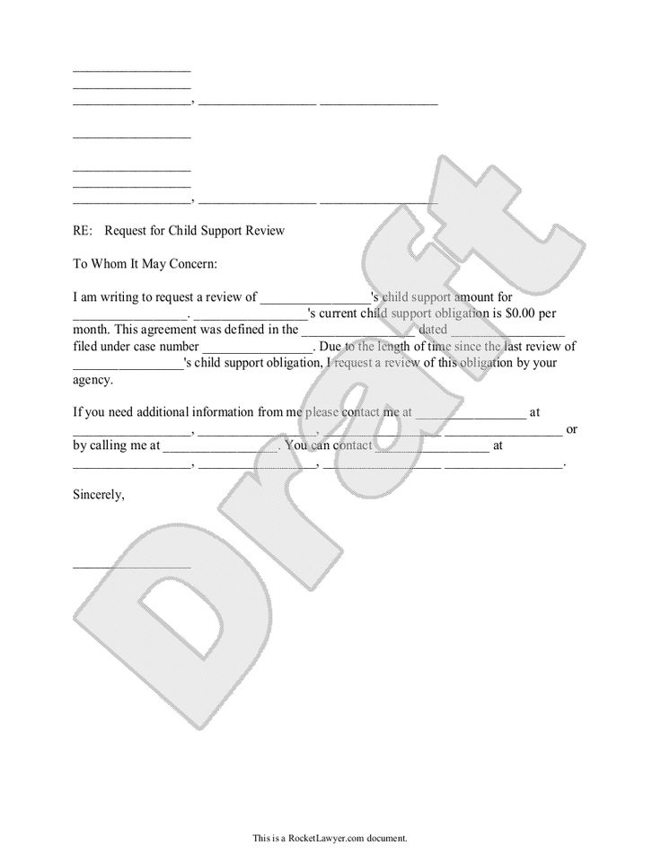 child support review letter - request review