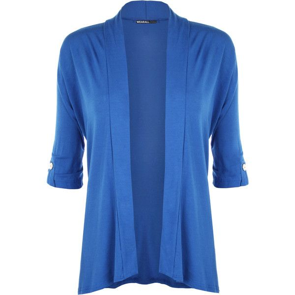 WearAll Plus Size Button Open Cardigan ($22) ❤ liked on Polyvore featuring tops, cardigans, blue, plus size tops, plus size open front cardigan, button cardigan, long sleeve tops and women's plus size cardigans