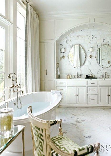 : Bathroom Design, Tubs, Chairs, Greek Keys, Marbles, White Bathroom, Atlanta Home, Master Bath, Design Bathroom