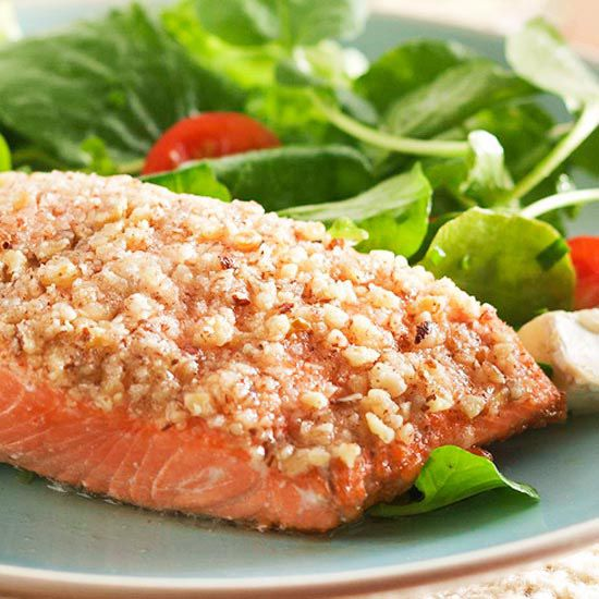 Grilled Hazelnut Salmon with Watercress Salad