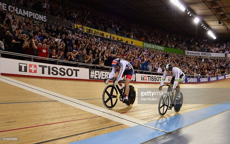 Jason Kenny of Great Britain (L) crosses the line ahead of Matthew Glaetzer of Australia to win the Men's Sprint Final during Day Four of the UCI Track Cycling World Championships at Lee Valley Velopark Velodrome on March 5, 2016 in London, England. #TWC2016 #rm_112