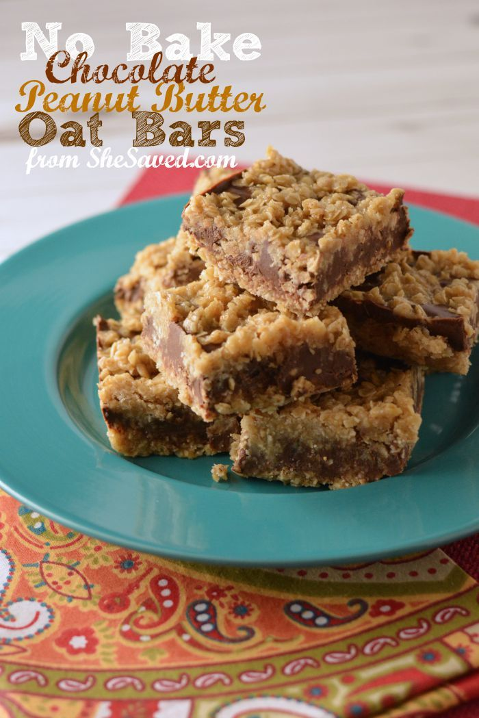No Bake Chocolate Peanut Butter Oat Bars | Butter, Sweet and Peanuts