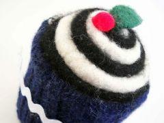 Blue Felted Wool Cupcake Pincushion