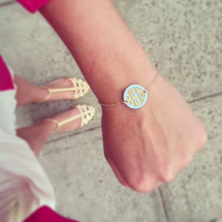 Lola loves Hartford block monogram bracelet in Carolina blue acrylic!! www.moonandlola.com